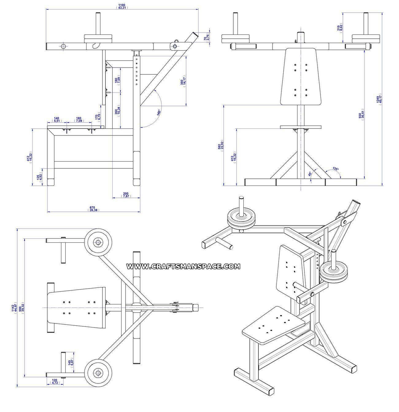 Shoulder press bench plan assembly drawing
