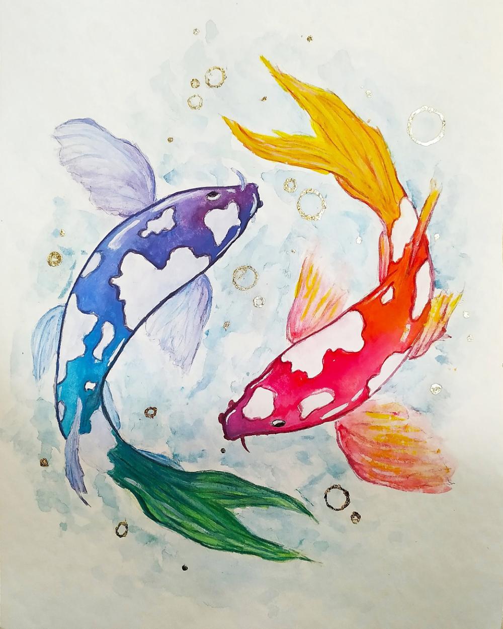 Watercolor Koi Fish Drawing In 2020 Koi Fish Drawing Fish Drawings Fish Sketch