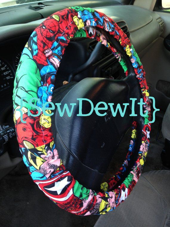 Steering Wheel Cover Marvel Superhero Thor Ironman Spiderman Incredible Hulk Wolverine Captain Ameri