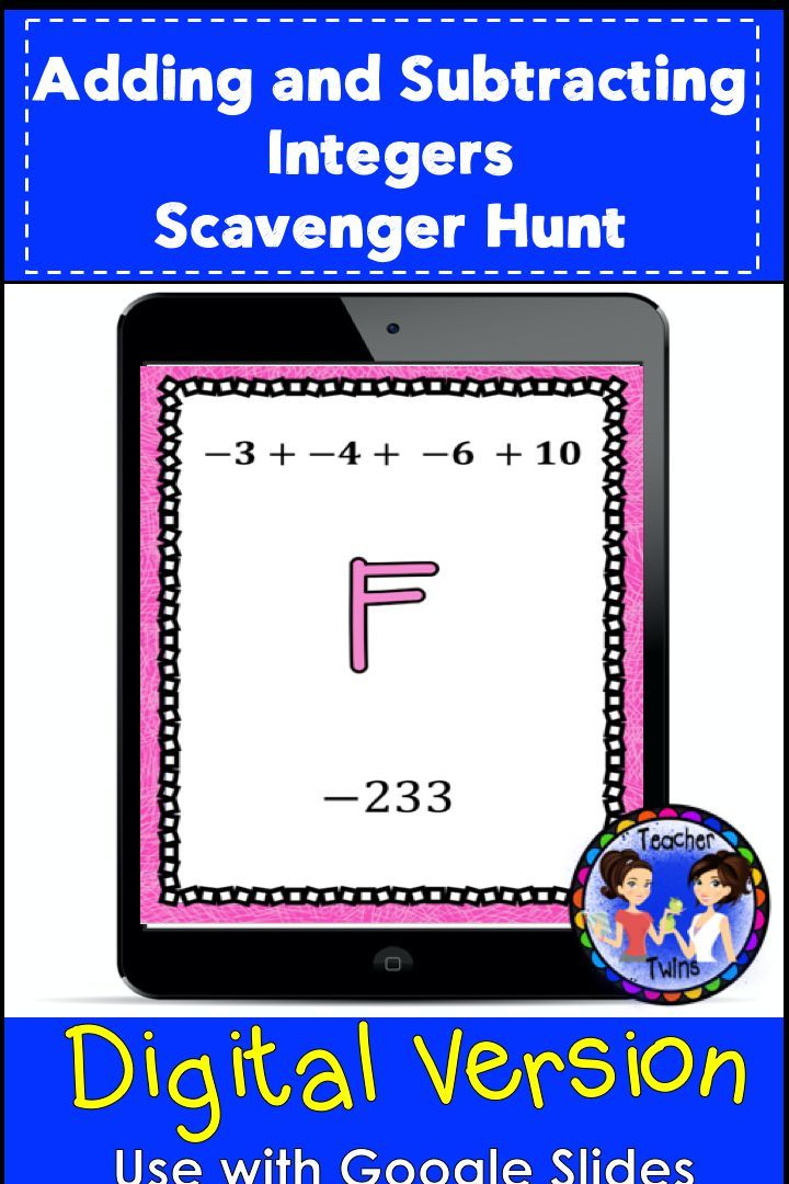 Adding and Subtracting Integers DIGITAL Scavenger Hunt
