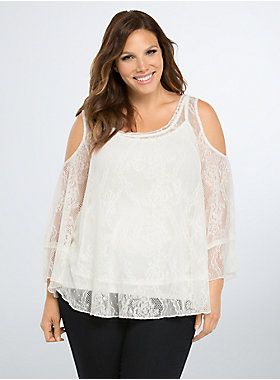 6667a51a92aa0 Lace Cold Shoulder Top