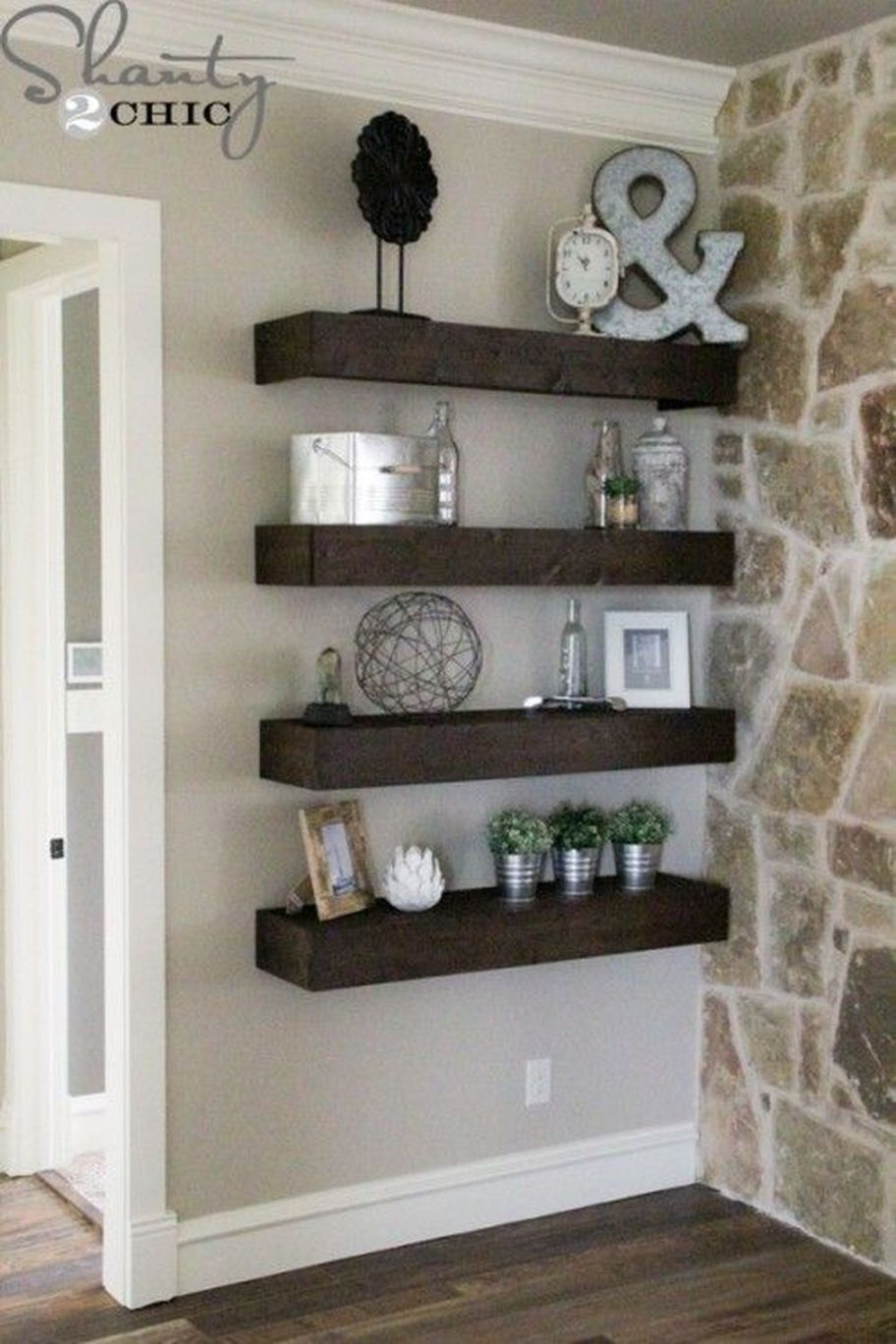 20 Stunning Rustic Living Room Decor Ideas Floating Shelves Diy Wall Decor Living Room #rustic #living #room #shelf