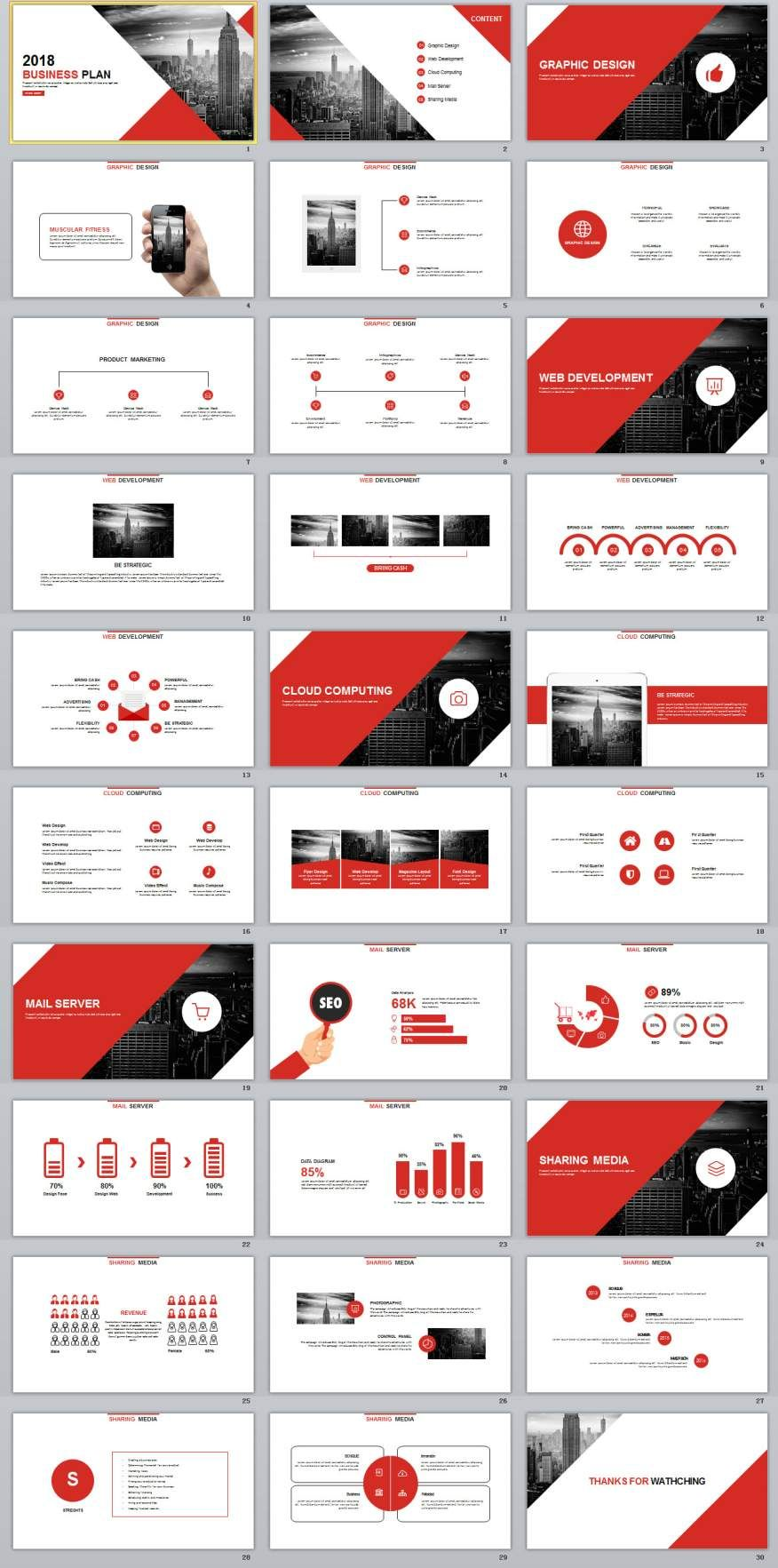 30 Red Year Report Charts Powerpoint Template Dashboard Mapping