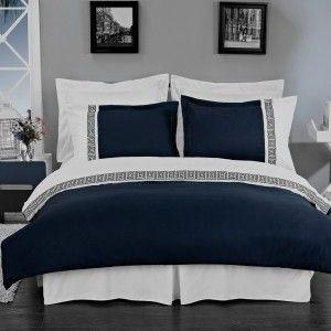 3pc Hotel Modern Greek Key Navy White Duvet Cover Set Maybe For