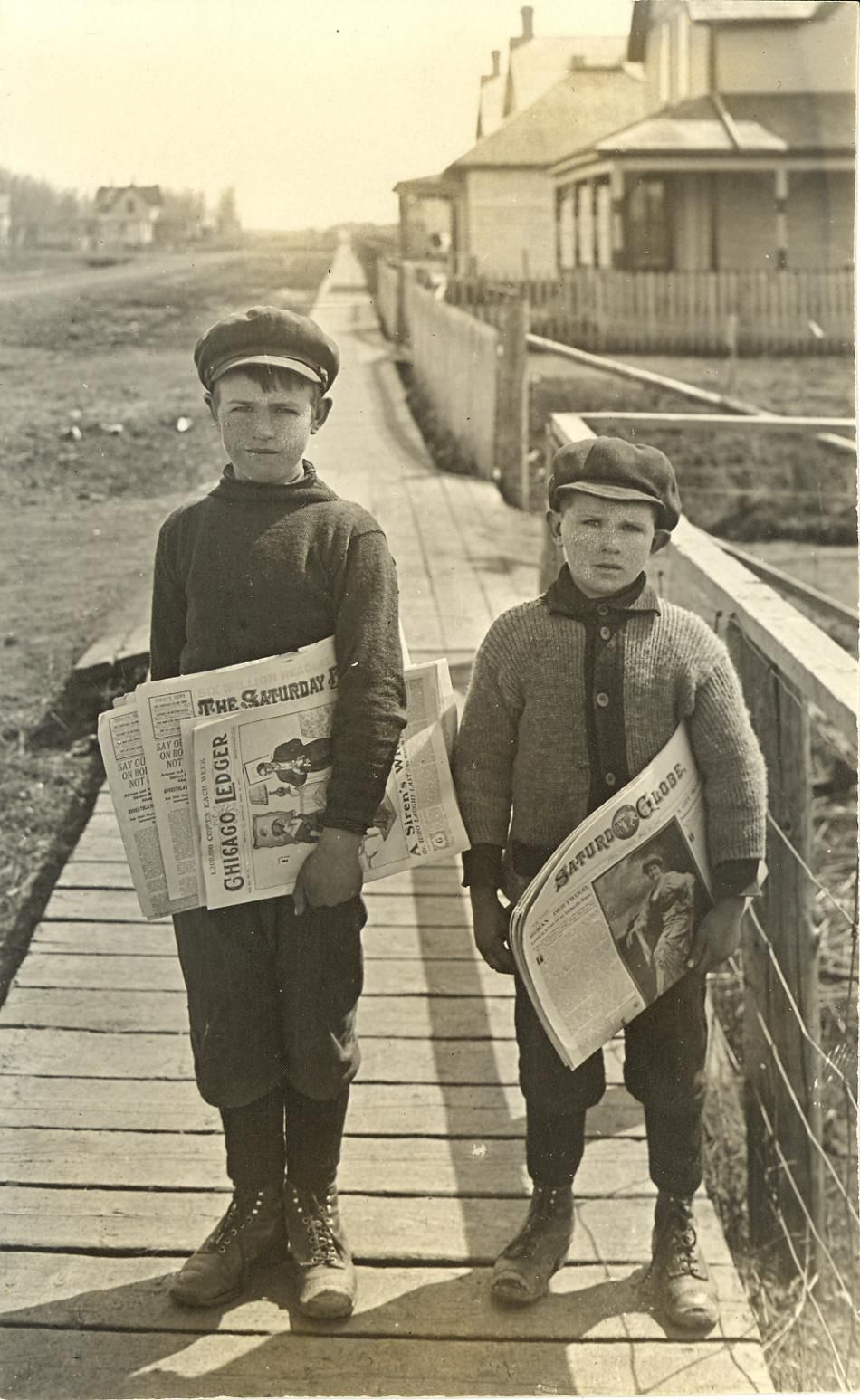 Cyril And Claude Parkinson Newspaper Delivery Boys At Kamsack Ca 1916