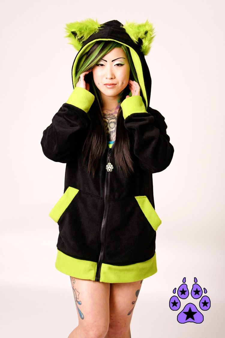 8cbccac2a PAWSTAR Color Theme Fluffy Mew Hoodie - lime, green, blue, turquoise or  black size S