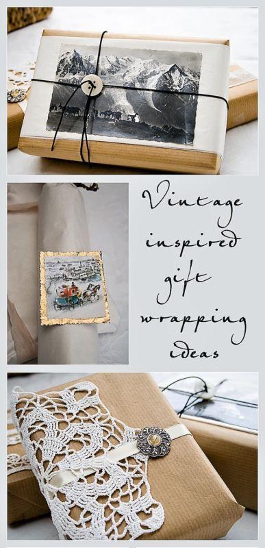 Vintage Style Christmas Gift Wrap Yearning, Feelings and Folk