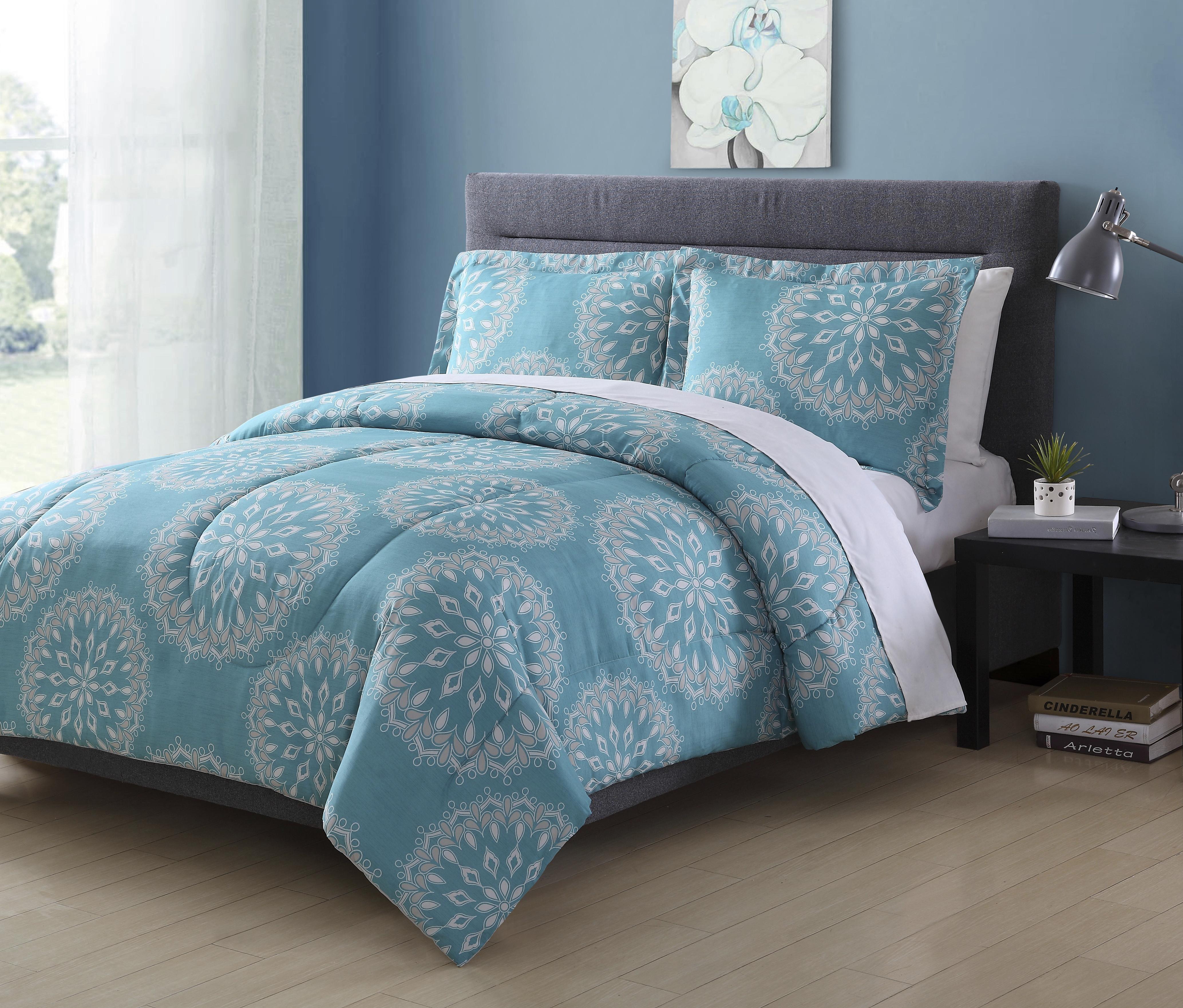 Colormate Microfiber Comforter Set â Sunburst, Turquoise