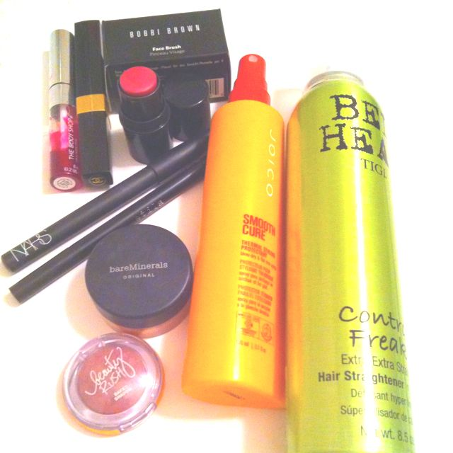 79b66d4dfc7 My favorite beauty products ever!  3 Bed Head Control Freak straightener.  Joico smooth cure. Bobbi Brown cheek tint. Nars purple glitter liner.