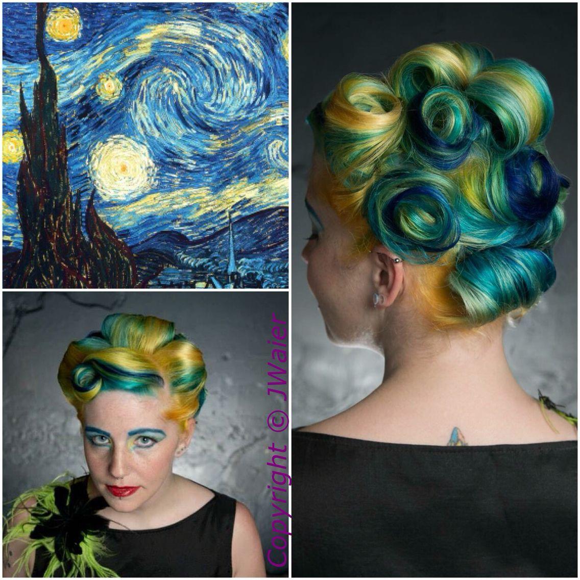 Van Goghs A Starry Night Inspired Hair Color Using Pravana Vivids