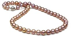 Metallic Lavender Freshwater Pearl Necklace, AAA Quality, 7.0-8.0mm
