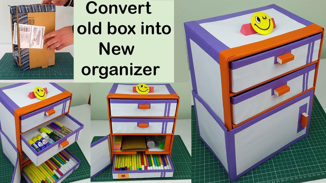 Diy Desk Organizer Part - 33: How To Make A DIY Desk Organizer/ Drawer Organizer Out Of Cardboard Boxes.