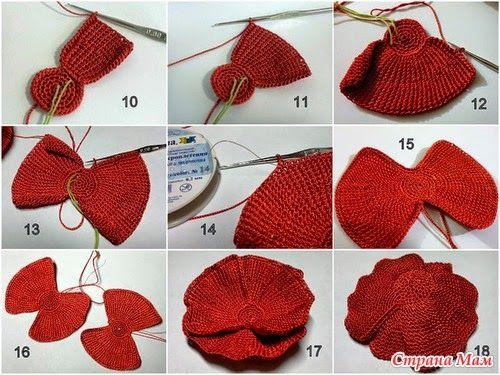 TRICO y CROCHET-madona-mía: Amapolas en Crochet -paso a paso en fotografías