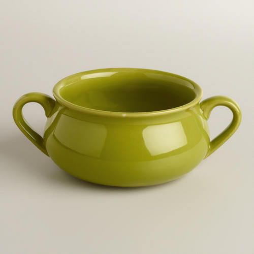One of my favorite discoveries at WorldMarket.com: Green Double-Handled Soup Crocks, Set of 4