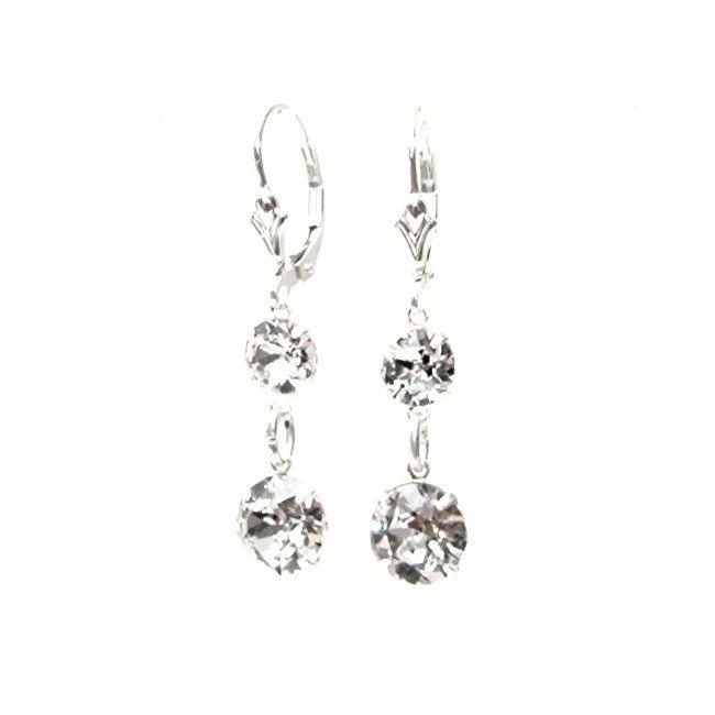 pewterhooter 925 Sterling Silver fishhook earrings handmade with sparkling Diamond White crystal from SWAROVSKI® for Women DJsLaOqwkU