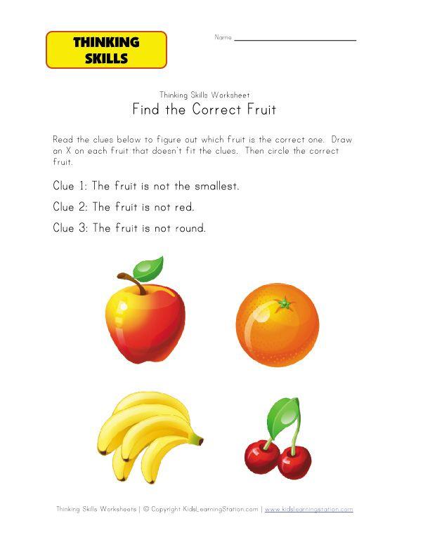 thinking activity worksheet fruit   pre school&k   Pinterest ...