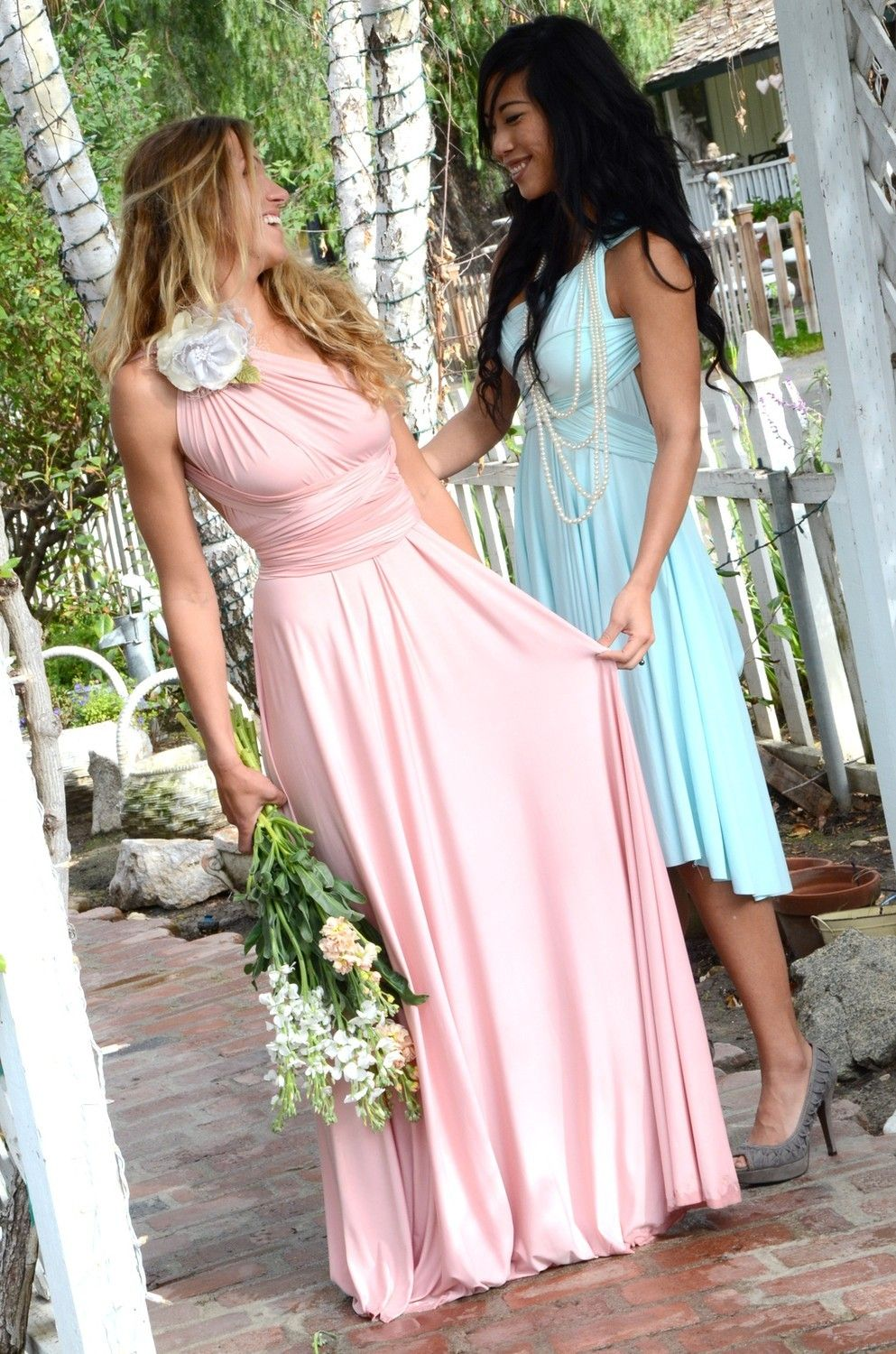 Light pink convertible long silk bridesmaid dress with flower explore chic bridesmaid dresses and more ombrellifo Choice Image