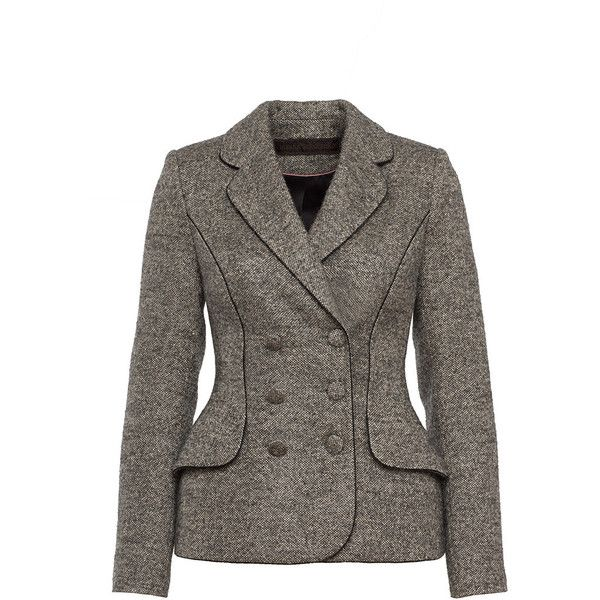 Ulyana Sergeenko     Double Breasted Fitted Jacket ($2,935) ❤ liked on Polyvore featuring outerwear, jackets, light grey, double breasted jacket, button jacket, fitted jacket, double breasted wool jacket and wool jacket