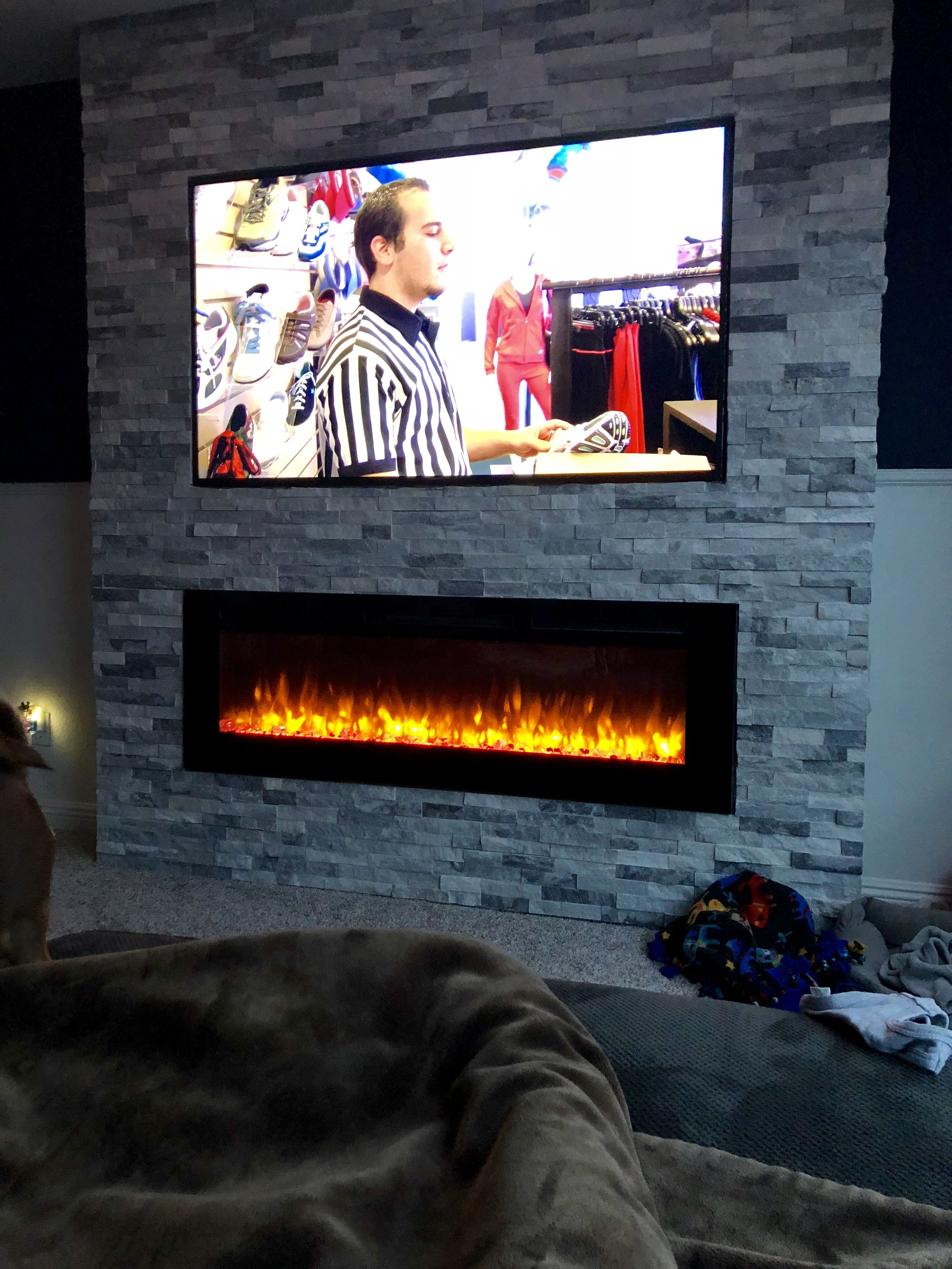Electric Fireplace And Tv Built In Stone Wall Stone Walls