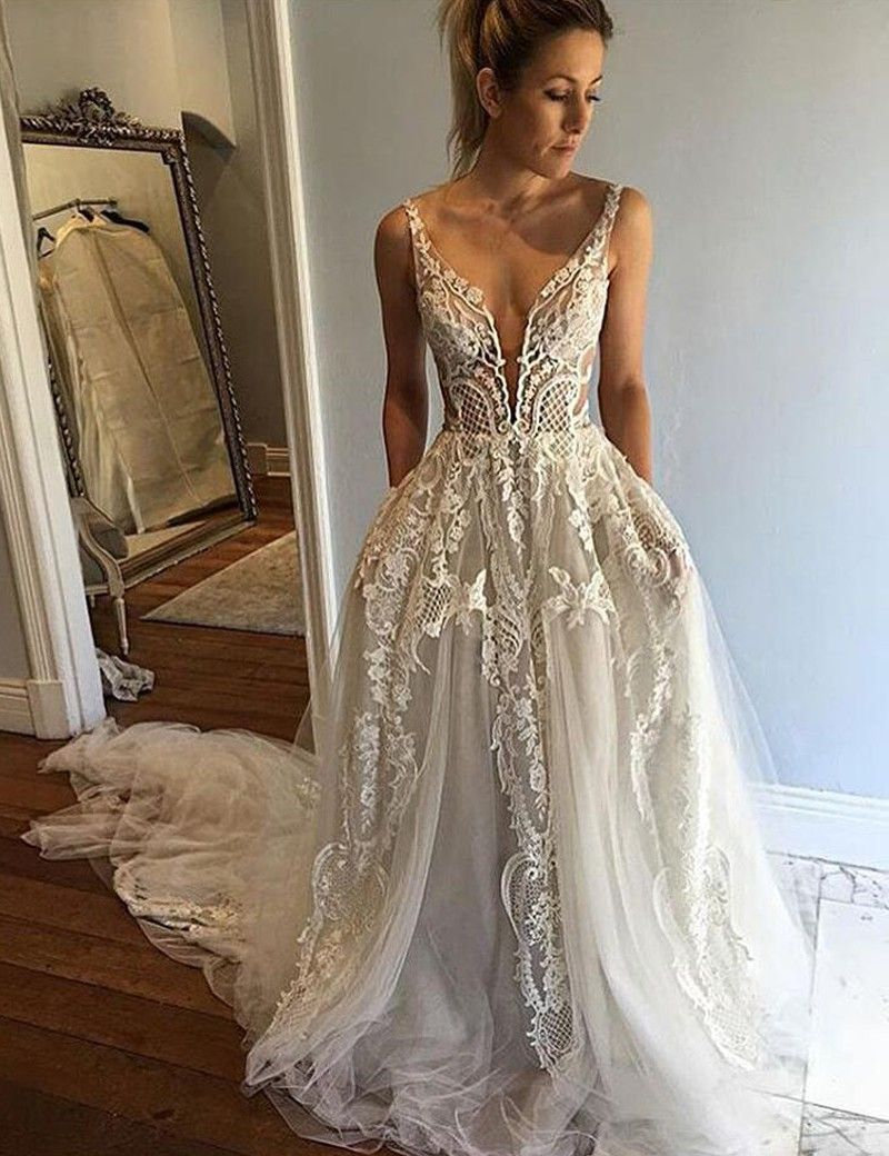 A-Line Deep V-Neck Court Train Ivory Tulle Wedding Dress with Lace ...