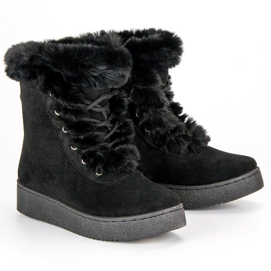 Czarne Wiazane Sniegowce Boots Winter Boot Shoes