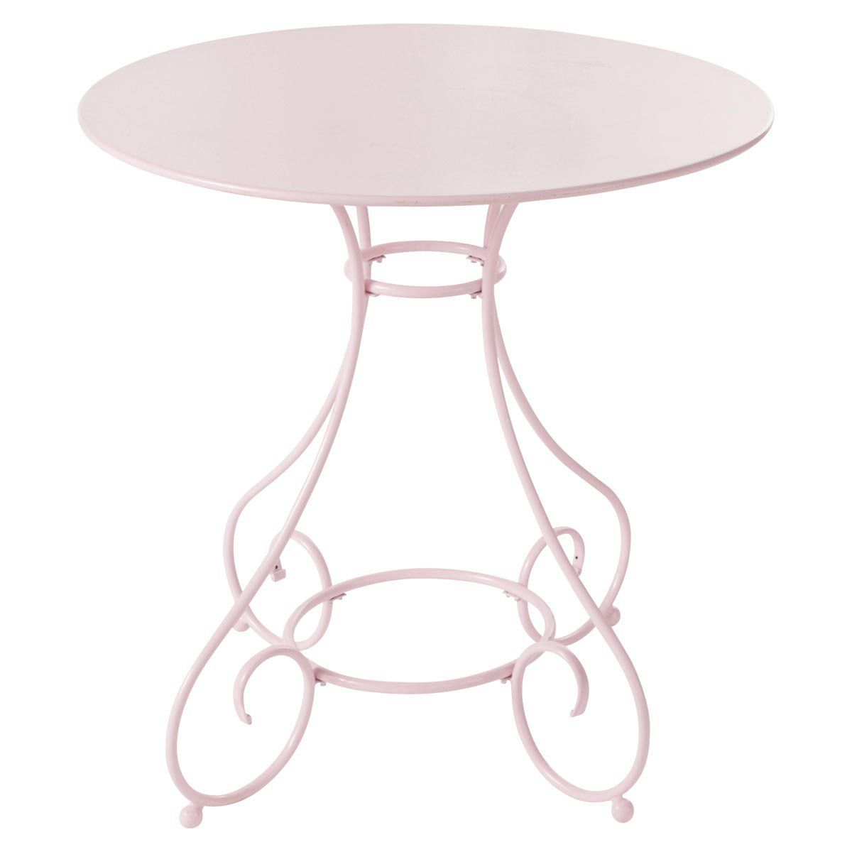 table de jardin ronde metal rose mary