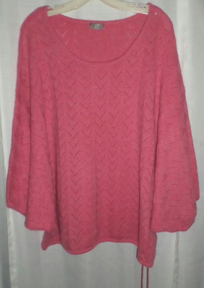 J Jill #Cashmere Sweater Pink Knit Kimono Top 1x 2x 3x range No ...