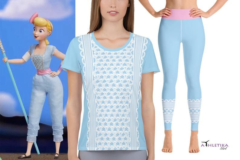 Toy Story 4 Halloween Costumes.Bo Peep Inspired Athletic Mesh T Shirt And Yoga Leggings Workout