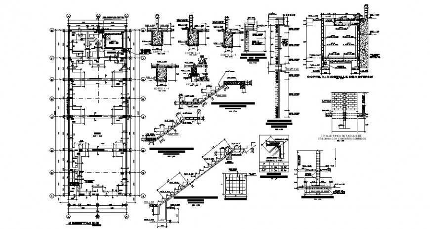 Foundation Plan Staircase Section And Constructive Structure Details Of Building Dwg File Staircase How To Plan Building