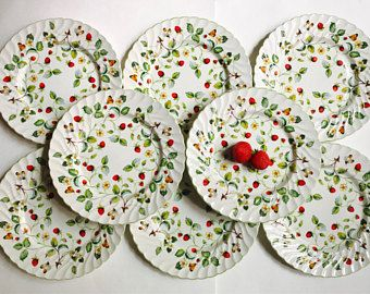 James Kent Old Foley \ Strawberry\  Dinner Plates Set of 8 Vintage England circa 1950s & James Kent Old Foley \