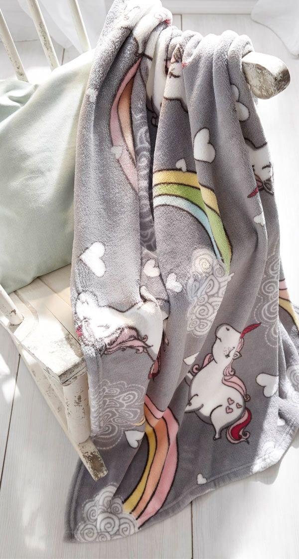 Kuscheldecke Mit Einhorn Design Kuscheldecke Kuscheln Und Deckchen