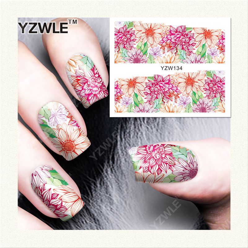 $0.12 (Buy here: http://appdeal.ru/48gu ) YZWLE 1 Sheet DIY Decals Nails Art Water Transfer Printing Stickers Accessories For Manicure Salon (YZW-134) for just $0.12