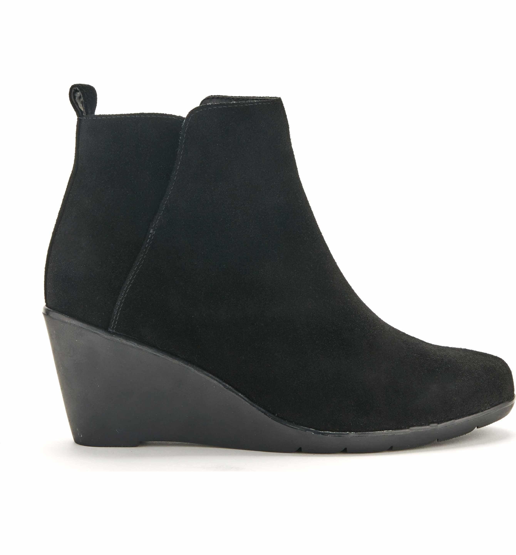 Comfy Shoes Blondo Waterproof Vor Suede Wedge Booties Black Women