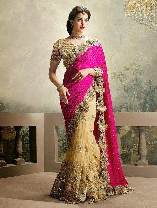 fccfe9a8a80023 Pink and Cream Net Saree with Stone Work