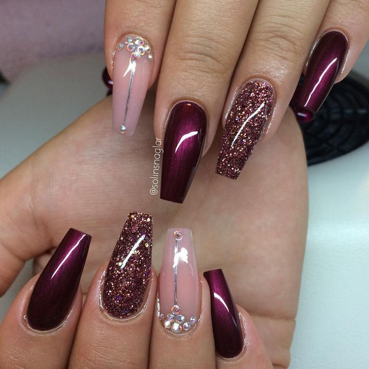 Red pink glitter coffin nails | Nails | Pinterest | Coffin nails ...