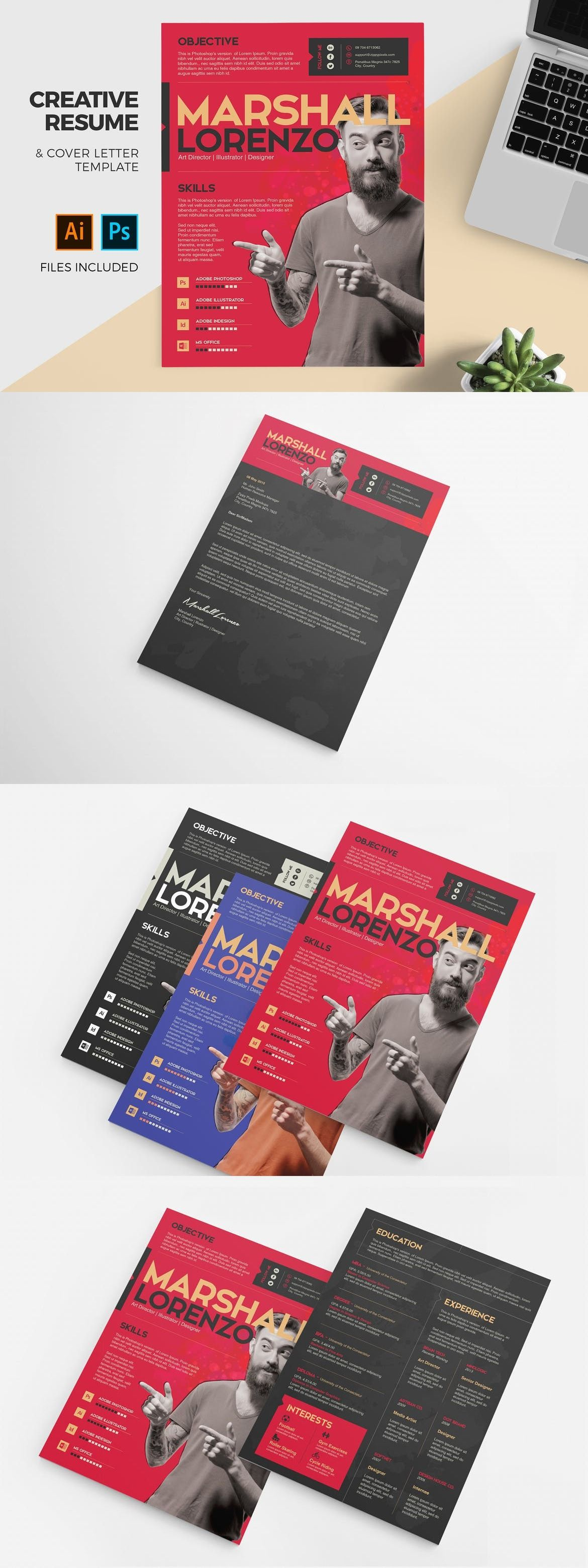 Professional CV template/ Business card + 2 page + Cover