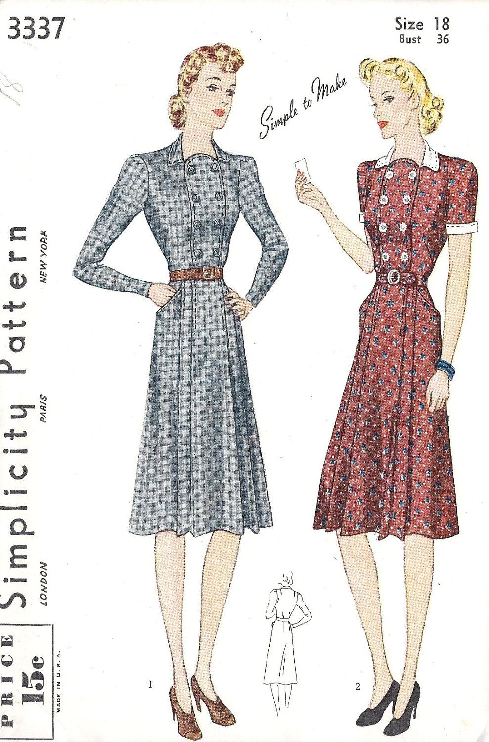1940S Dress Patterns Free | 1940s Misses Tailored dress Vintage ...