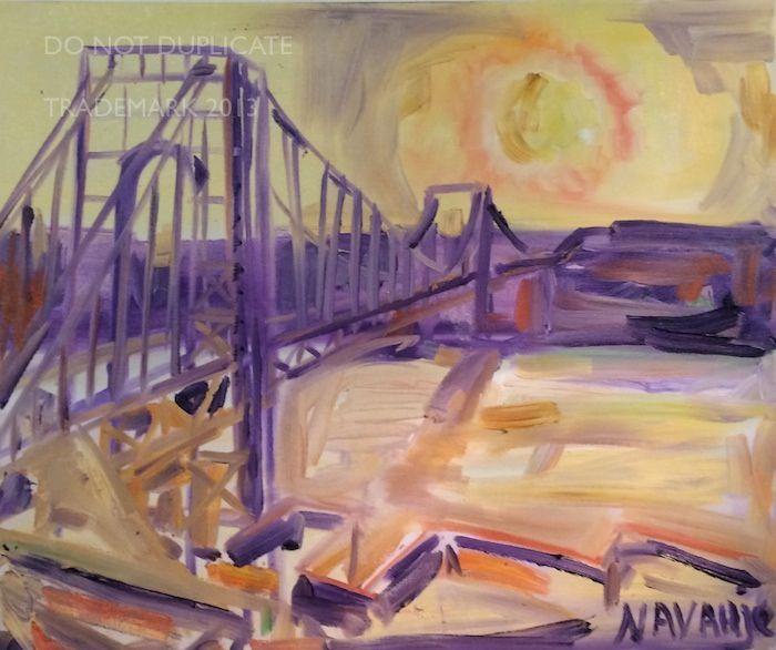 Navahjo Stoller Oil Paintings Hudson Heights George Washington Bridge Piantings Gwb Bridge Painting George