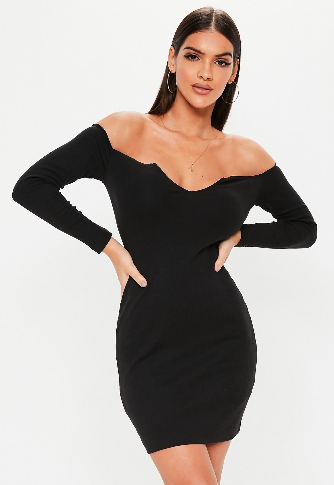 24d52a352d37 Missguided - Black Bardot Notch Front Mini Dress in 2019 | Clothes ...