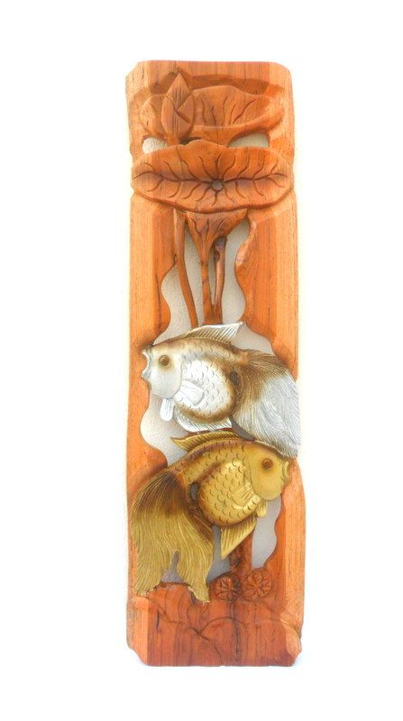 Wood Carving Two Fish With Lotus Flower Hand by WoodCarvingArt