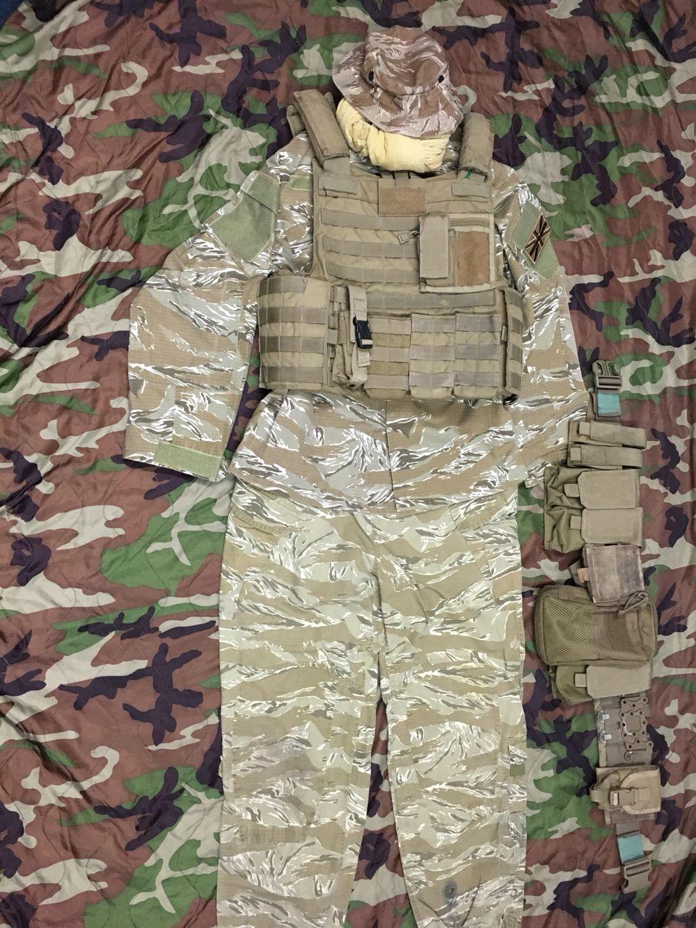 ee5889ab095 My desert tiger stripe bdu and tan warrior assault systems plate carrier &  belt kit