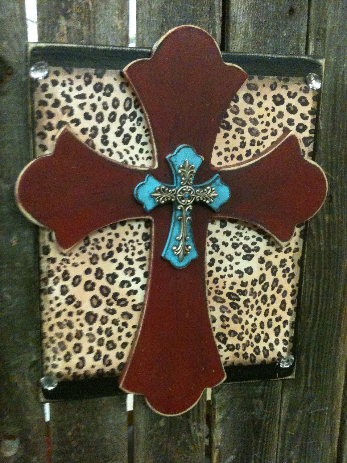 Wooden Stacked Cross Plaque - Hanging Wall Cross - Cross Home Decor - Decorative Cross - Leopard Cheeta Red Tourquoise Cross