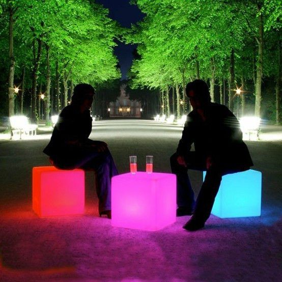 16-Inch LED Cube Chair Glow Light Outdoor Living Garden Pool Decor ...