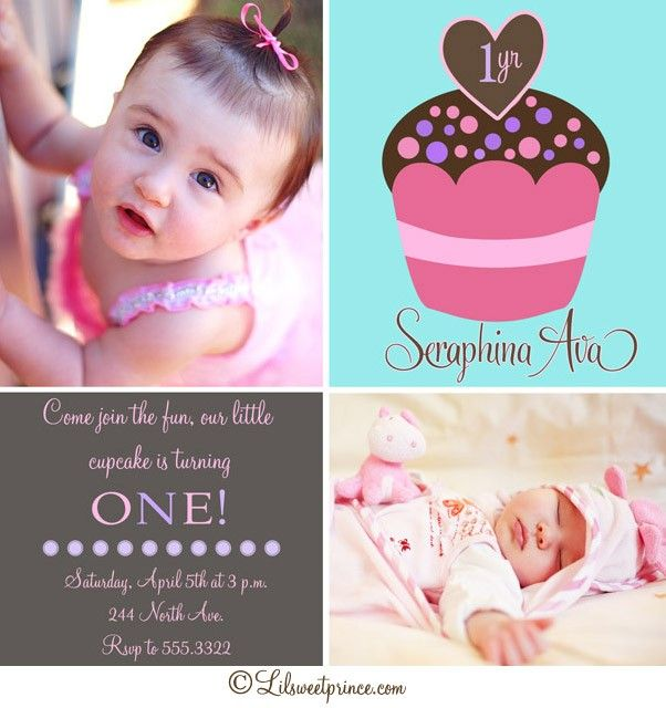 Cupcake Themed Birthday Invitations – Invitation for First Birthday Party