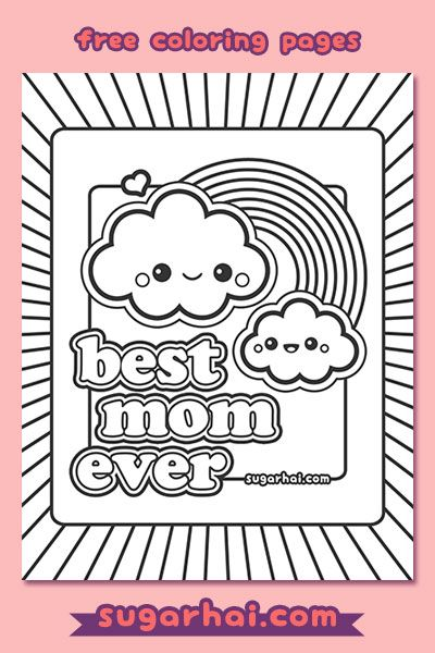free best mom ever coloring page | cloud, rainbows and kawaii - Coloring Page Rainbow Clouds