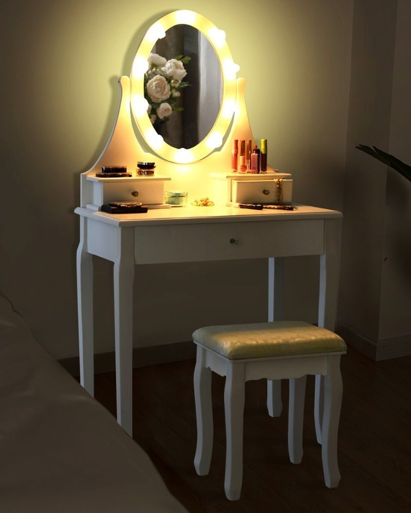 Dressing Table Set Cushioned Stool Led Bulb Lighted Mirror Vanity Makeup Desk Uk Dressing Table With Stool