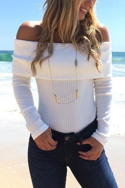 White Off Shoulder Layered Long Sleeves Striped Bodysuit - US 11.95 ... a60838545