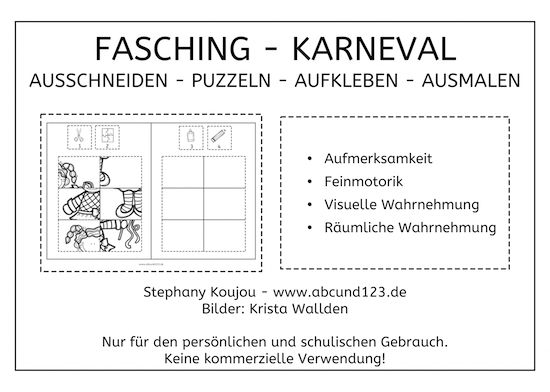 fasching karneval puzzles freebie feinmotorik lesen schreiben rechnen pinterest learn. Black Bedroom Furniture Sets. Home Design Ideas