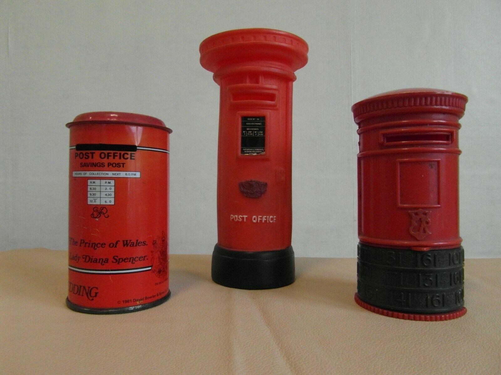 Three Collectable Vintage Royal Mail Pillar Post Boxes Money Savings Box In 2020 Money Saving Box Savings Box Pillar And Post