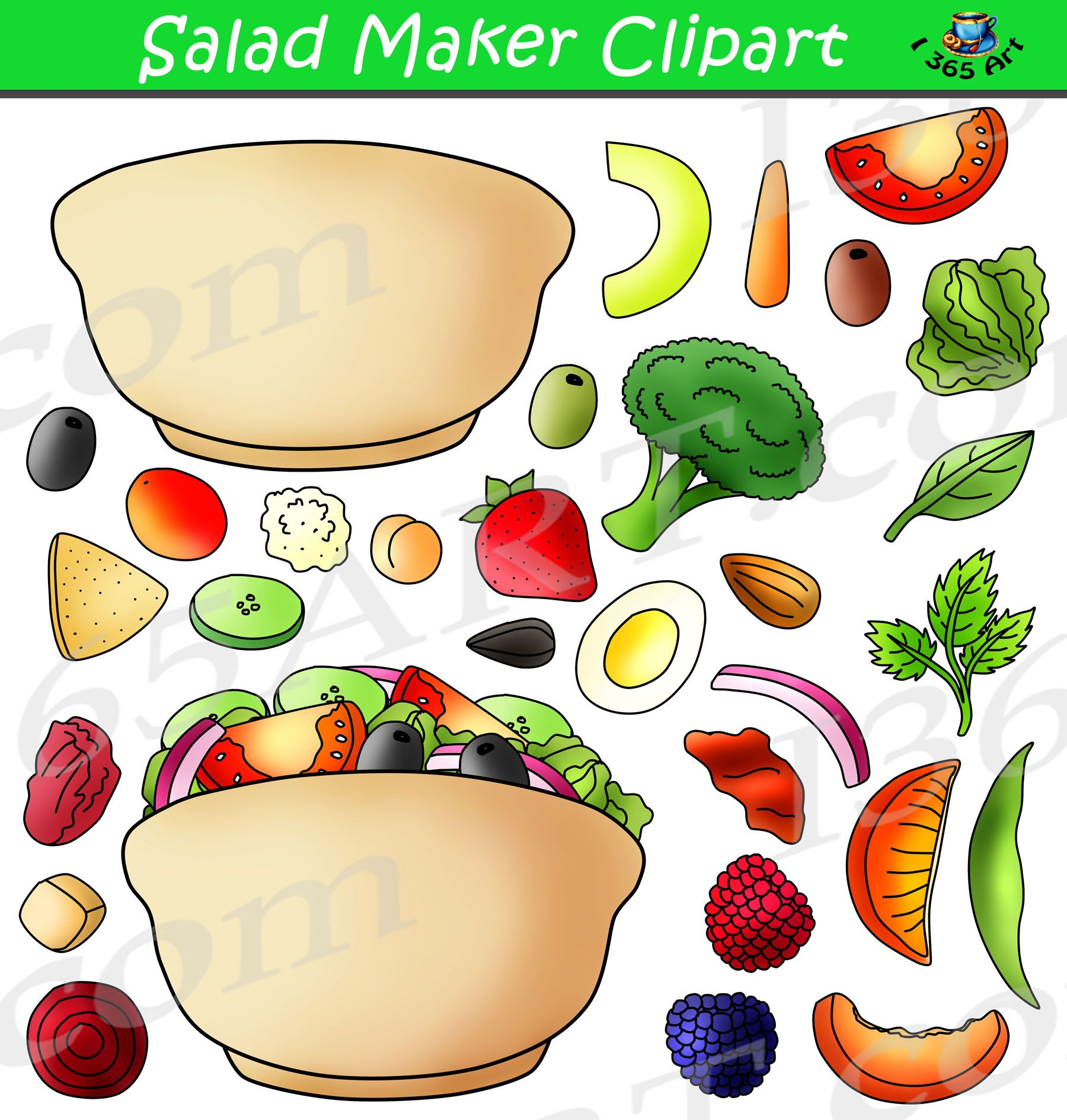 Build A Salad Clipart Graphics Food Amp Nutrition Digital